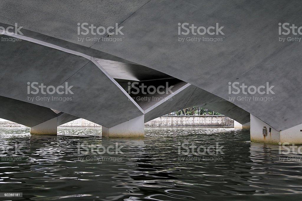Underside of a modern Bridge in Singapore stock photo