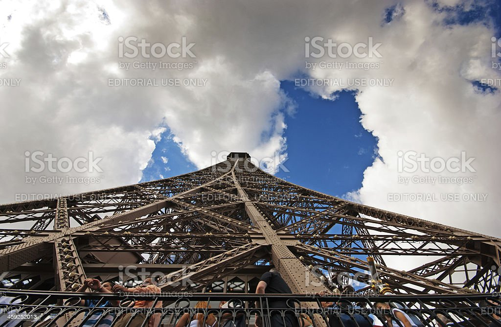 Underside of the Eiffel Tower royalty-free stock photo