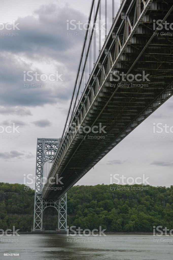Underside of the George Washington bridge on cloudy day royalty-free stock photo