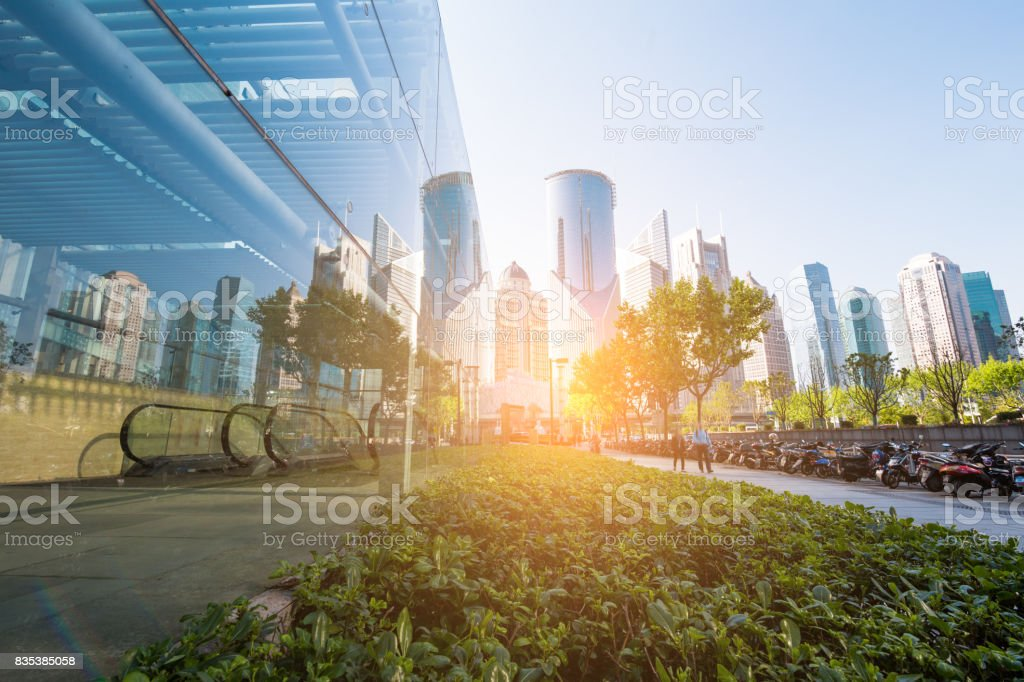 underside panoramic and perspective view to steel glass high rise building skyscrapers, business concept of successful industrial architecture stock photo