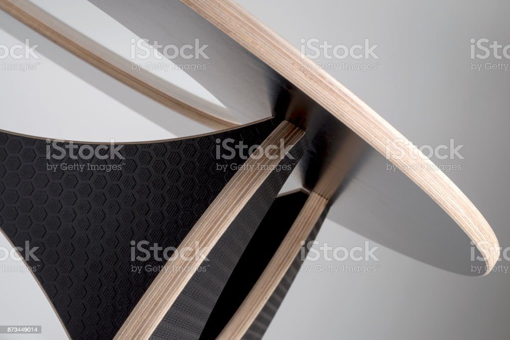 Underside View of Designer Round Table with Black Rubber Covering stock photo