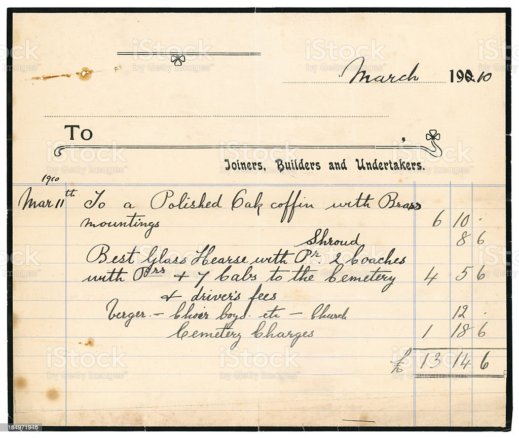 Undertaker's bill for coffin and funeral, 1910 royalty-free stock photo