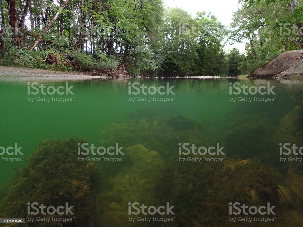 Underwater absorption from a stream stock photo