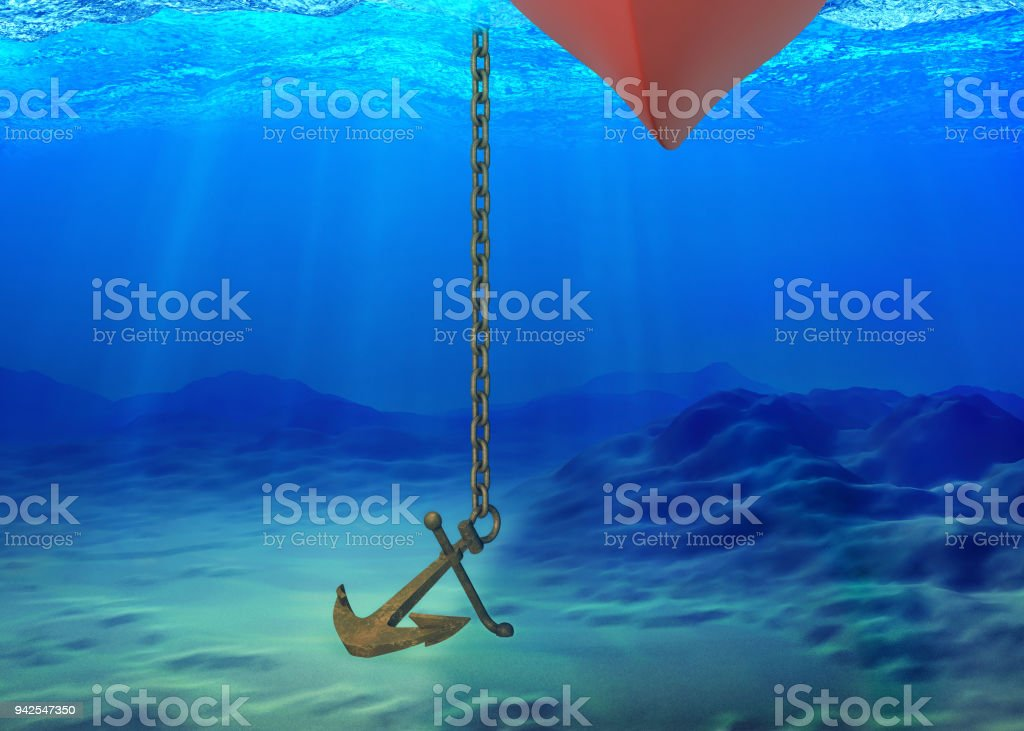 Underwater background with the ship and the anchor stock photo