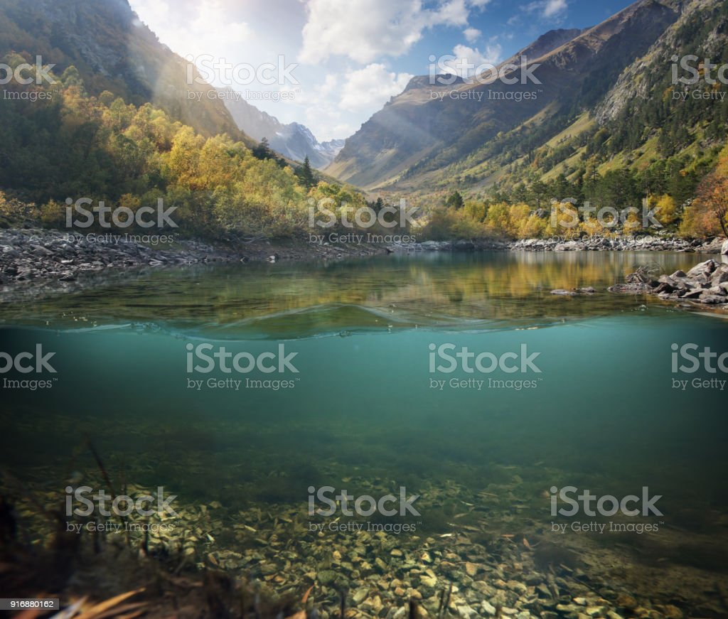 Underwater. Beautiful lake between the green banks and mountains. stock photo