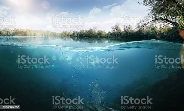 Half underwater half over, over-under split shot of huge Lake Laber