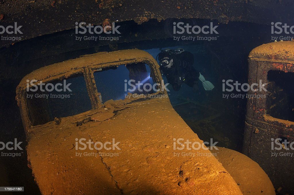 Underwater car stock photo
