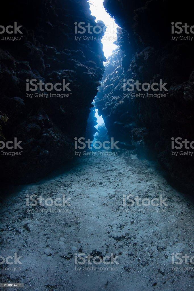 Underwater cave exit stock photo