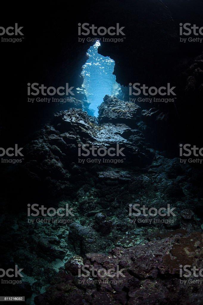 Underwater Cave stock photo