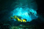 Underwater cave with submarine, sea, exploration. 3D render.