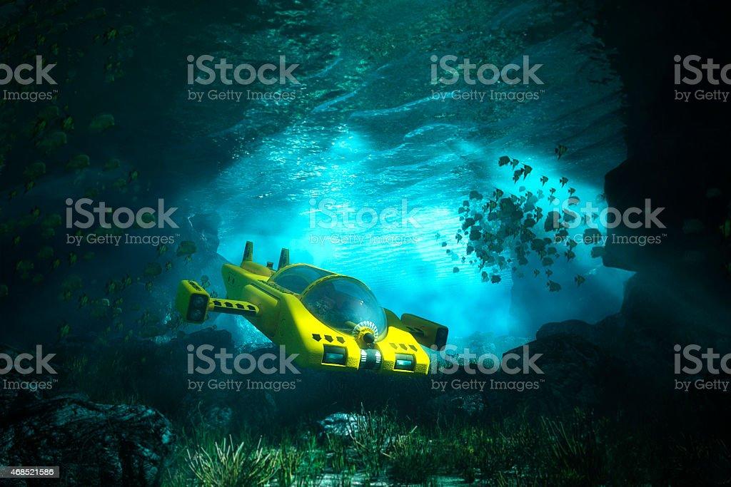 Underwater cave with submarine, sea, exploration stock photo