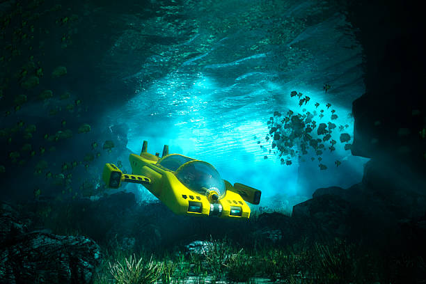 Underwater cave with submarine, sea, exploration Underwater cave with submarine, sea, exploration. 3D render. deep stock pictures, royalty-free photos & images