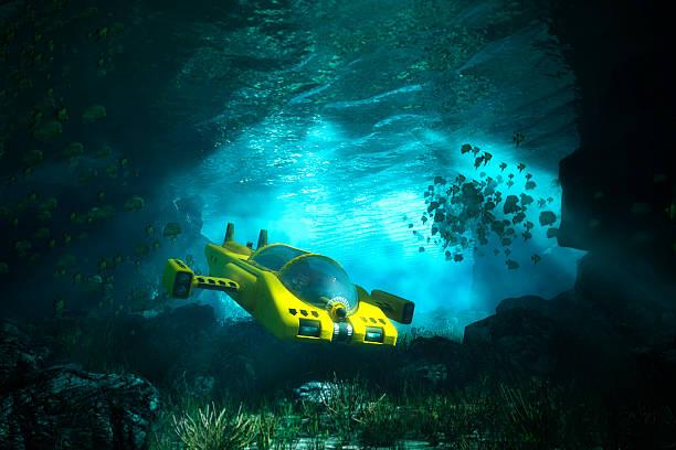 수중 동굴, 해저, 바다빛, 탐험 - 깊은 뉴스 사진 이미지