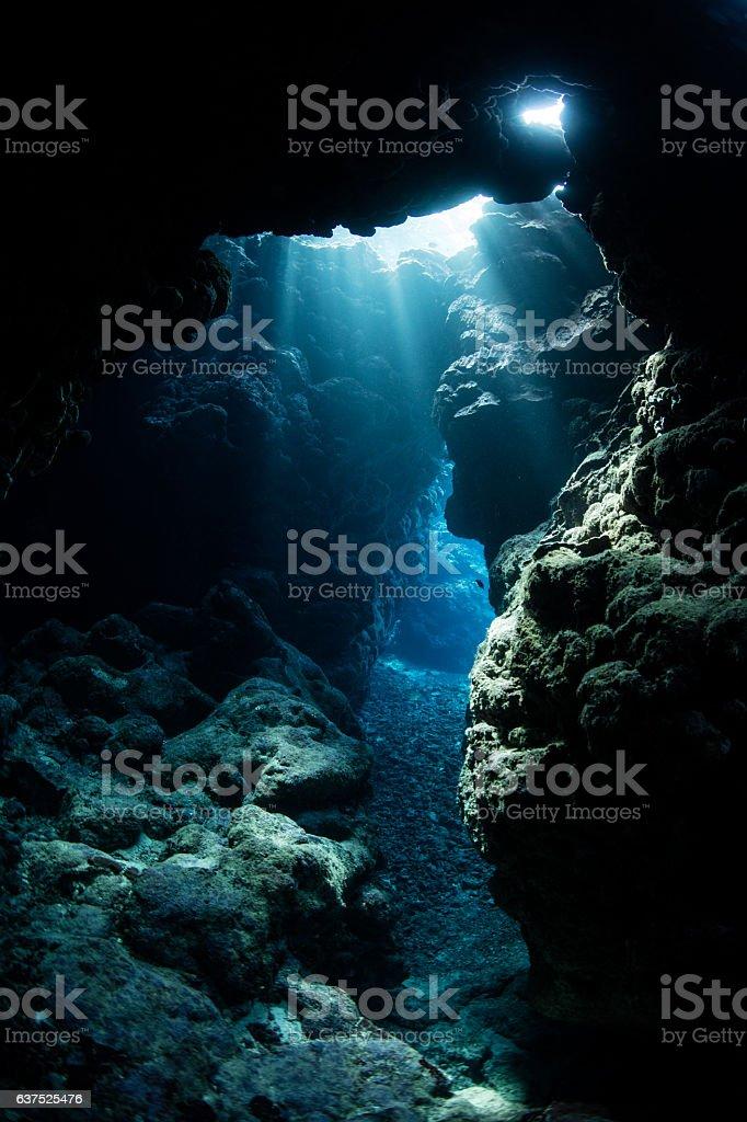 Underwater Cavern in Melanesia stock photo