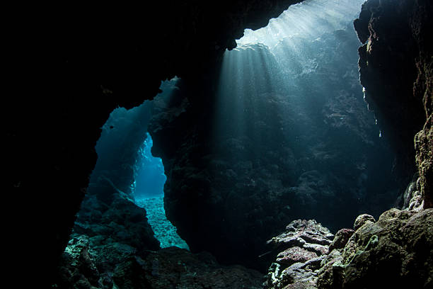Underwater Cavern Bright sunlight illuminates a dark, submerged cavern in the Solomon Islands. Coral reefs are often riddled with caves and caverns creating plenty of niches for marine organisms. major ocean stock pictures, royalty-free photos & images
