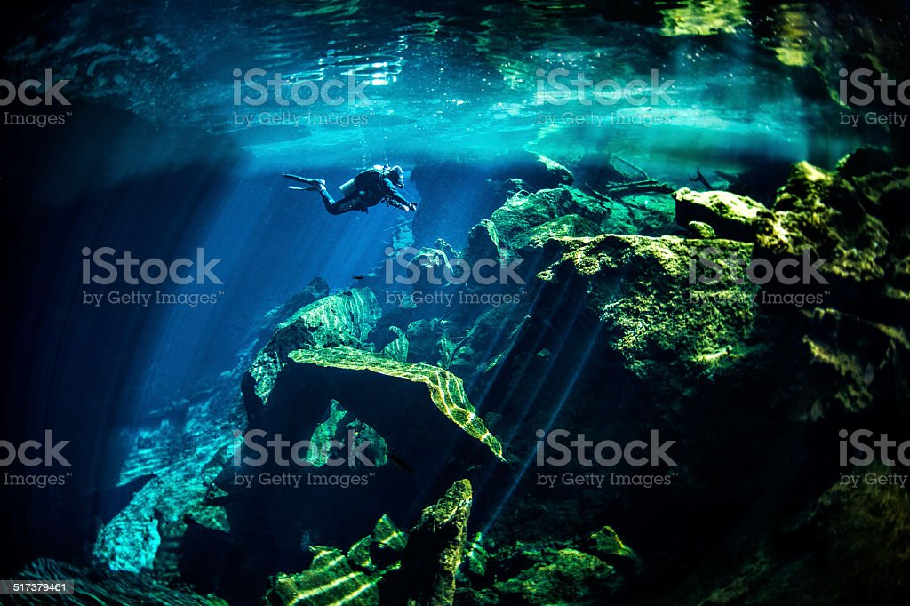 Underwater cenotes stock photo