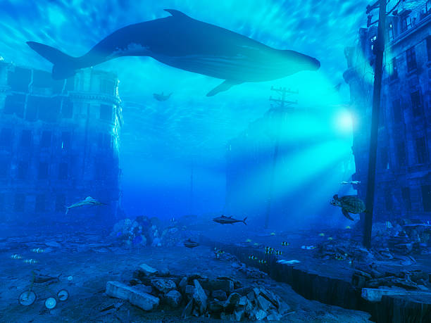 underwater city underwater city. 3d rendering concept sunken stock pictures, royalty-free photos & images