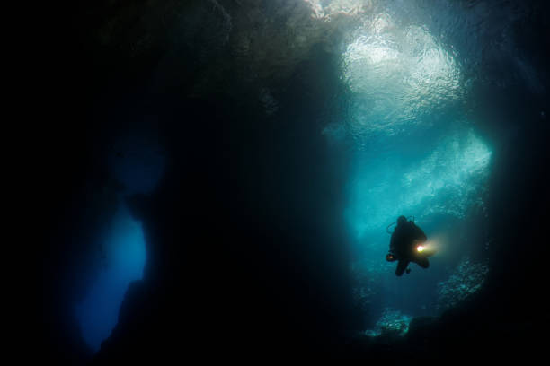 underwater diver silhouette underwater diver silhouette deep stock pictures, royalty-free photos & images