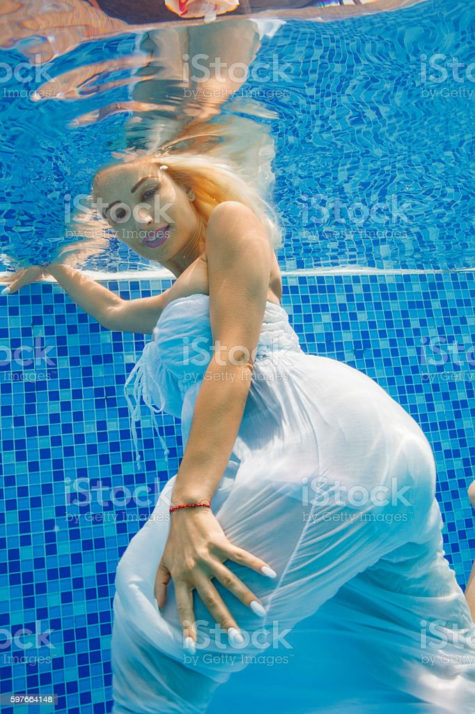 Underwater Fashion Pool Party Woman Relaxing At Swimming