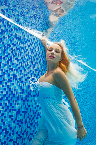 Underwater Pool Party Woman Swimming Relaxing In Swimming