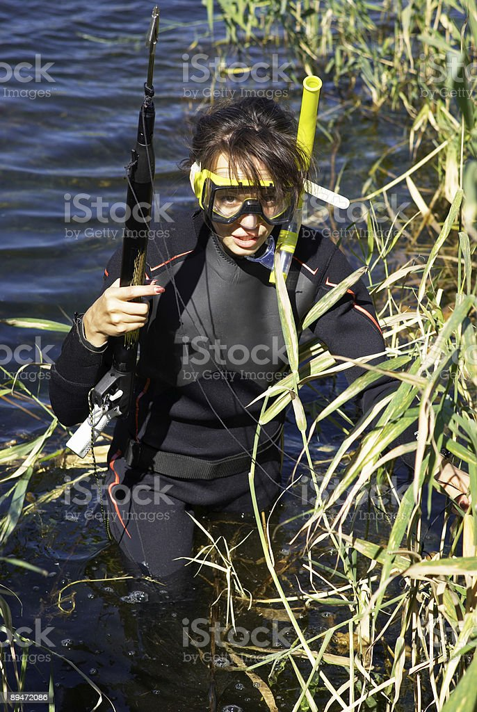 Underwater fisherman woman in lake royalty-free stock photo