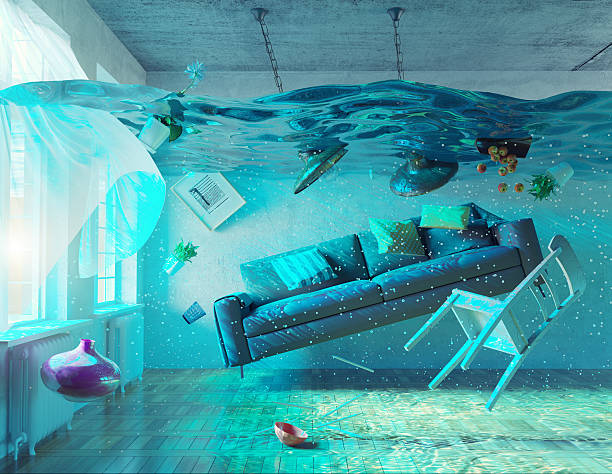 underwater  flooding interior stock photo