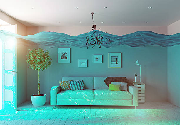 underwater  flooding interior - flooded room stock photos and pictures