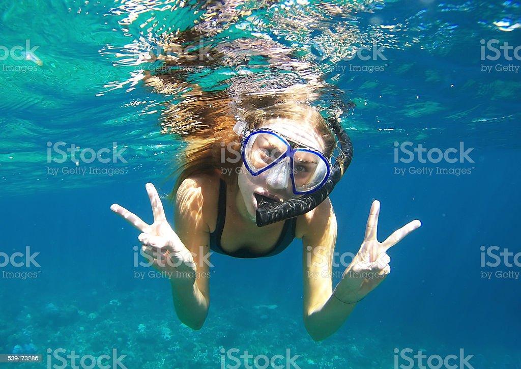 Underwater fun stock photo