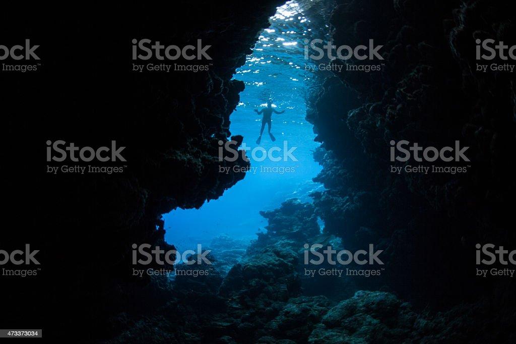 Underwater Grotto and Snorkeler stock photo