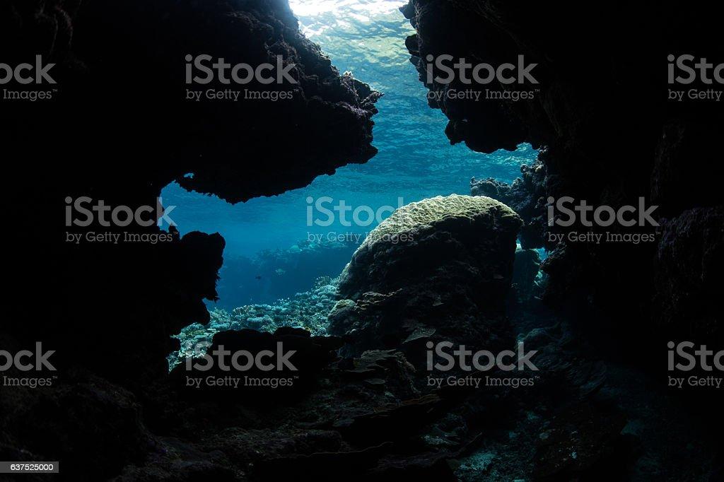 Underwater Grotto in Solomon Islands stock photo