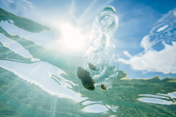 underwater looking upwards to the sea surface with suspended used plastic water bottle. - trash stock photos and pictures