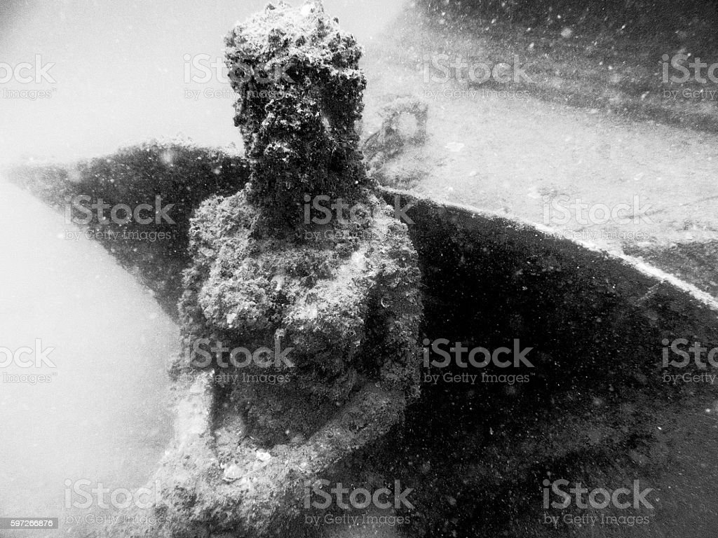 Underwater Mermaid Angel Statue Female Spooky Sunken Artificial Reef Lizenzfreies stock-foto