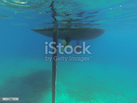 Underwater parts of a modern sailing yacht. Keel, screw and rudder. The view from under the water.