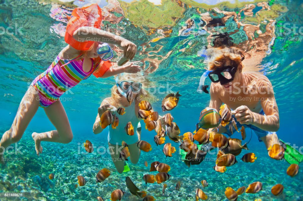 Underwater photo. Happy family snorkelling in tropical sea - fotografia de stock