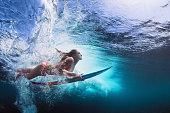 Underwater photo of girl with board dive under ocean wave