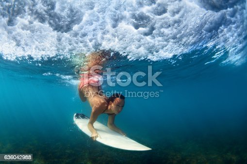 583830686 istock photo Underwater photo of surfer girl on surf board in ocean 636042988
