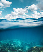 Underwater view on sea waves (combined underwater and surface view).