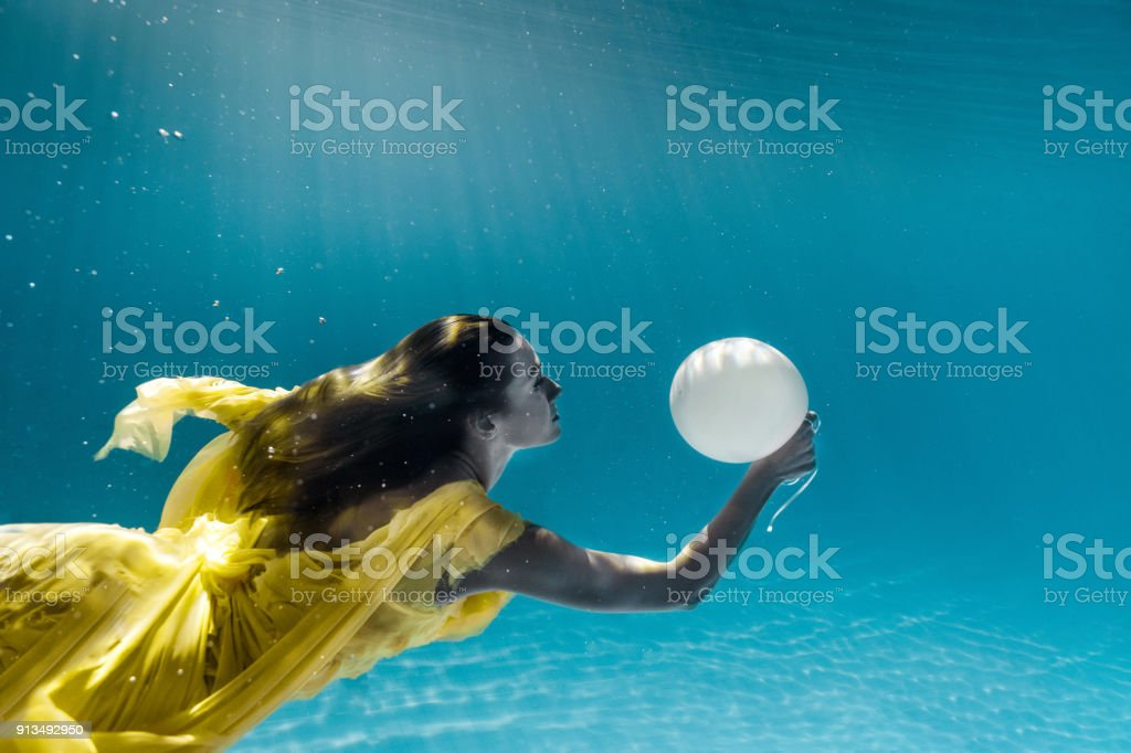 7d970cc32e underwater picture of beautiful young woman in dress with balloon swimming  in swimming pool royalty-