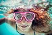 Closeup of a happy girl swimming underwater.\nNikon D810