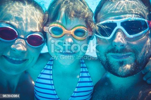 596350174istockphoto Underwater portrait of family 982840984