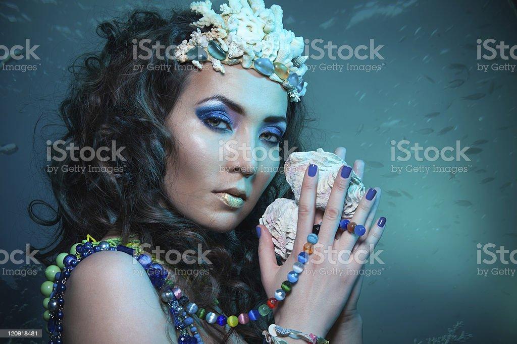 Underwater queen with treasures royalty-free stock photo