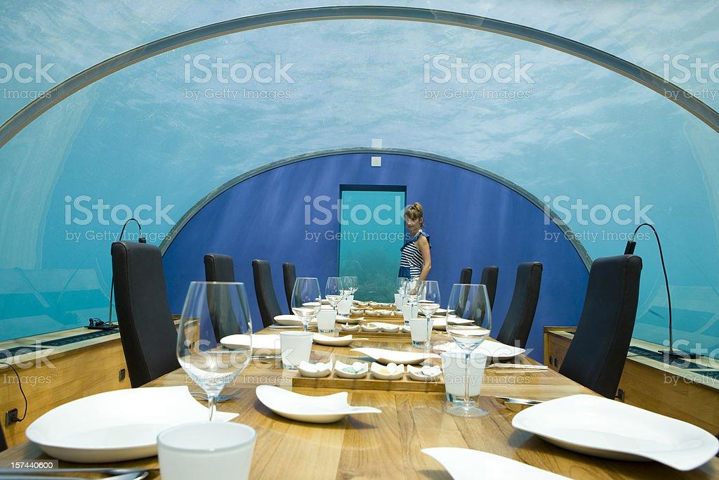Underwater restaurant stock photo