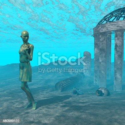istock Underwater ruin scene 480989122