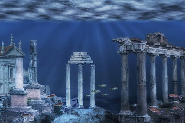 Underwater ruins Illustration of the ruins of the Atlantis civilization sunken stock pictures, royalty-free photos & images