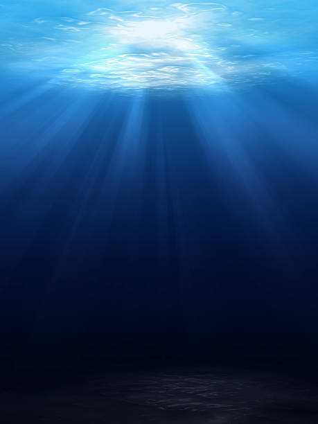 Underwater scene background stock photo