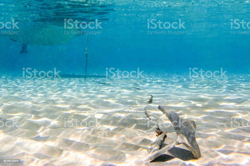 Underwater scene in tropical sandy beach, Koufonisi island, Crete, Greece. stock photo