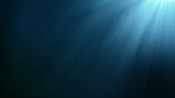 Escena bajo el agua con burbujas flotando y el sol brillando a través de la ilustración 3d de agua - foto de stock