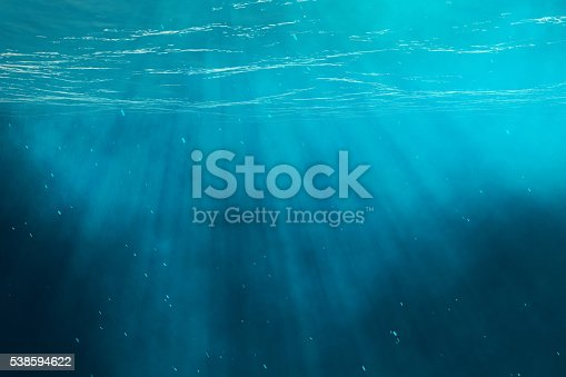istock Underwater sea, ocean with light rays. 3d illustration 538594622