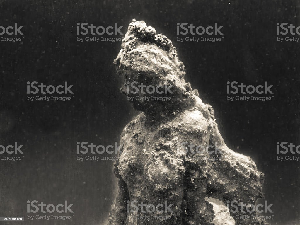 Underwater Shipwreck Mermaid Statue Artificial Reef Eerie Black and White photo libre de droits
