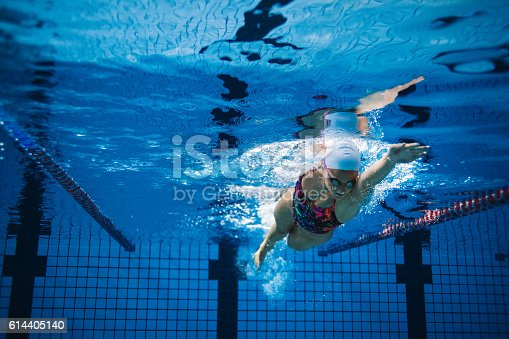 istock Underwater shot of female swimmer in action 614405140